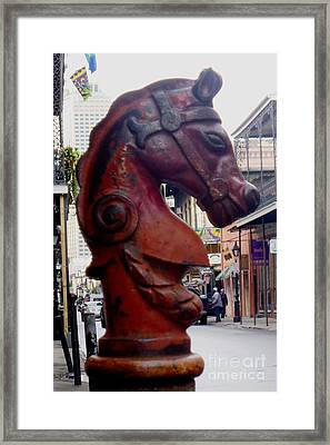 Framed Print featuring the photograph Red Horse Head Post by Alys Caviness-Gober