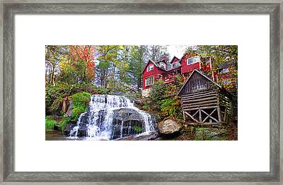 Red House By The Waterfall 2 Framed Print