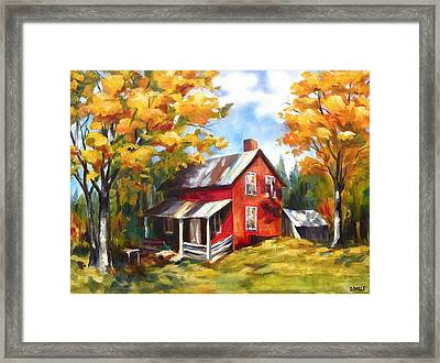 Red House In Autumn Framed Print by Diane Daigle