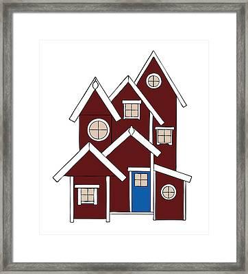Red Houses Framed Print by Frank Tschakert