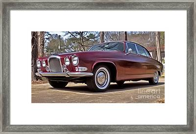 Framed Print featuring the photograph Red Jaguar 1966 by Elizabeth Coats