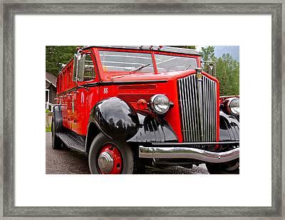 Red Jammer Tour Bus Glacier National Park Framed Print by Karon Melillo DeVega