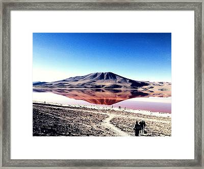 Red Lake Reflection Framed Print by Jade Sayers