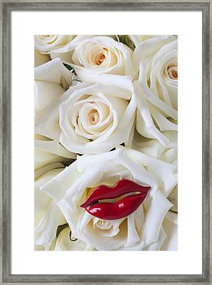 Red Lips And White Roses Framed Print by Garry Gay