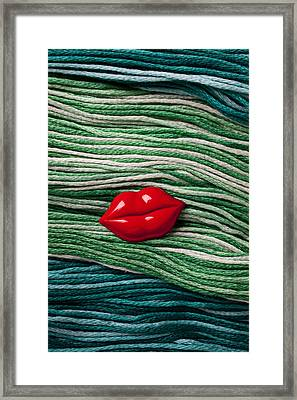 Red Lips Button On Thread Framed Print by Garry Gay