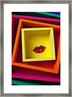 Red Lips In Yellow Box Framed Print by Garry Gay
