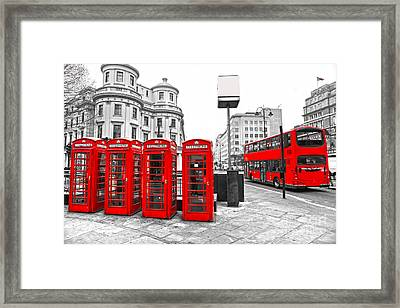 Framed Print featuring the photograph Red London by Luciano Mortula