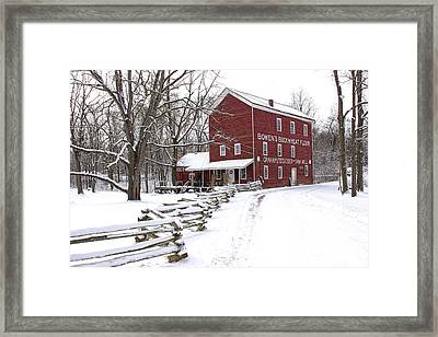 Red Mill In Winter Framed Print