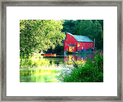 Red Mill On The Lake Framed Print by Artistic Photos