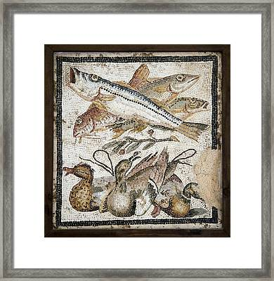 Red Mullets And Ducks, Roman Mosaic Framed Print