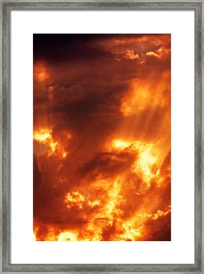 Red Mystical Sky Framed Print by Odon Czintos