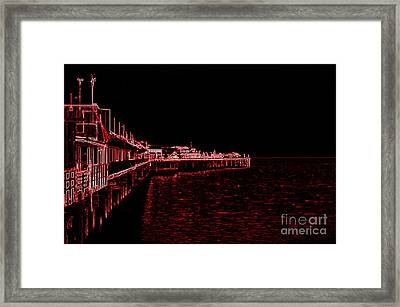 Red Neon Wharf Framed Print