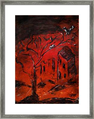 Framed Print featuring the painting Red Orange Yellow Sunset With Bird Nest Castle And Tree Silhouette by M Zimmerman