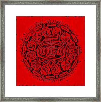 Red Oreo Framed Print by Rob Hans