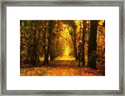 Red Park Alley Framed Print by Jaroslaw Grudzinski