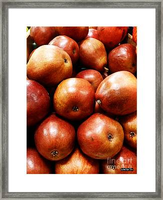 Red Pears Framed Print by Methune Hively