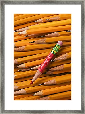Red Pencil With Yellow Ones Framed Print by Garry Gay