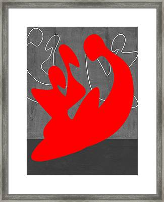 Red People Framed Print by Naxart Studio