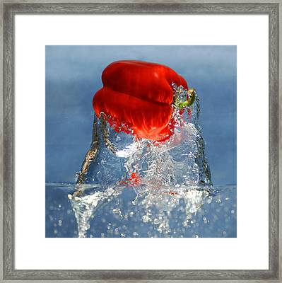 Red Pepper Splash Framed Print by Dung Ma
