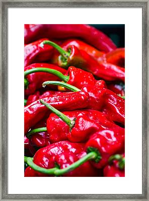 Framed Print featuring the photograph Red Peppers by Don Schwartz