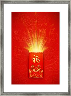 Red Pocket For Chinese New Year Framed Print by BJI/Blue Jean Images