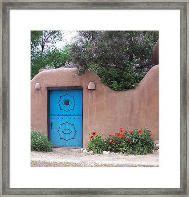Red Poppies Blue Door Nb Framed Print by Susan Alvaro