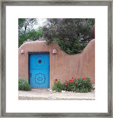 Red Poppies Blue Door Nb Framed Print