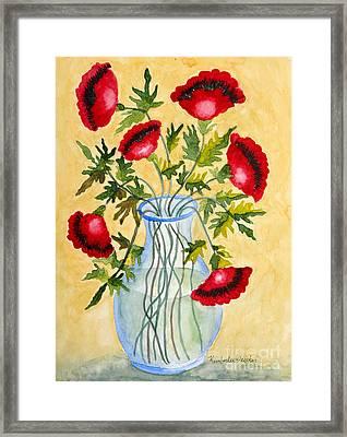 Red Poppies In A Vase Framed Print by Kimberlee Weisker