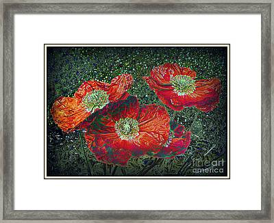 Framed Print featuring the mixed media Red Poppies by Irina Hays
