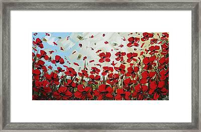 Red Poppy Field Framed Print by Christine Krainock