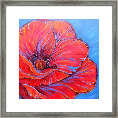 Framed Print featuring the painting Red Poppy by Jenn Cunningham