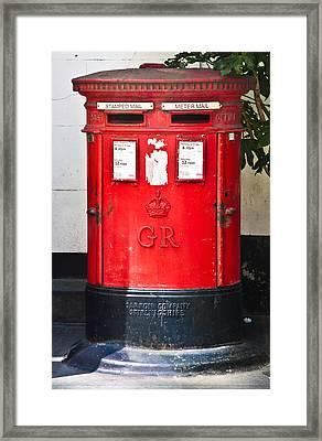 Red Post Box Framed Print by Dawn OConnor
