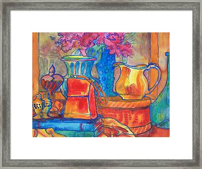 Red Purse And Blue Line Framed Print