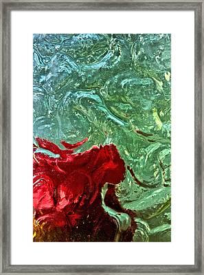 Red Ribbon Rose Under Glass Framed Print