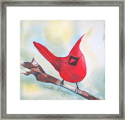 Framed Print featuring the painting Red Robin by Teresa Beyer