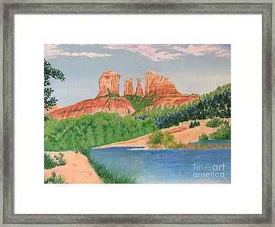 Red Rock Crossing Framed Print by Aimee Mouw