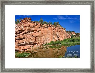 Red Rock Formation In The Kaibab Plateau In Grand Canyon National Park Framed Print by Louise Heusinkveld