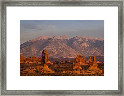 Red Rock Of Arches Framed Print by Andrew Soundarajan