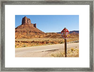 Red Rock Stop Framed Print by Bob and Nancy Kendrick