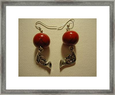 Red Rocker French Horn Earrings Framed Print