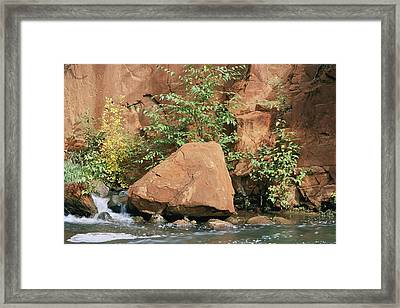 Red Rocks, Fall Colors And Creek, Oak Framed Print by Rich Reid