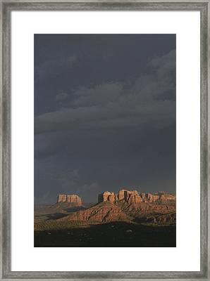 Red Rocks Of Cathedral Rock Lit By Sun Framed Print