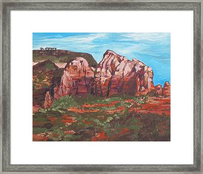 Red Rocks Framed Print by Sandy Tracey