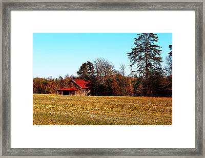Red Roof Tobacco Barn Framed Print