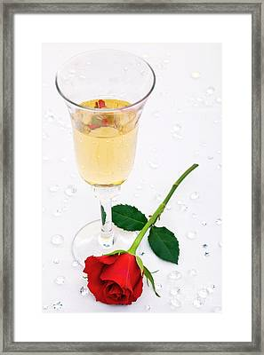 Red Rose And A Glass Of Champagne Framed Print by Richard Thomas