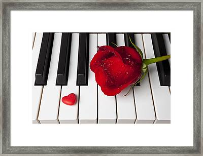 Red Rose And Candy Heart Framed Print by Garry Gay