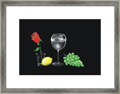 Framed Print featuring the painting Red Rose And Grapes by Larry Cirigliano