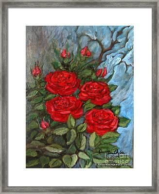 Red Roses In Old Garden Framed Print by Anna Folkartanna Maciejewska-Dyba