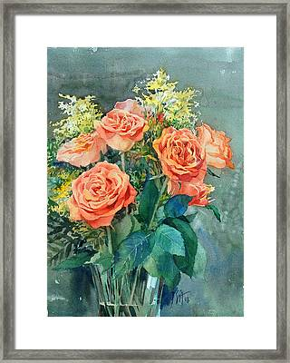 Red Roses Framed Print by Peter Sit