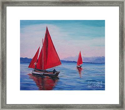 Framed Print featuring the painting Red Sails On Irish Coast by Julie Brugh Riffey